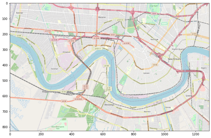 A, now properly sized, plot of New Orleans using the cropping script we just developed to resize our basemap to the proper size for our visual.