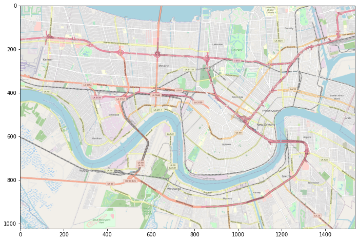 A plot of New Orleans using the script we just developed to stitch multiple tiles together into one continuous map that we can place under our scatter plot in the next section.
